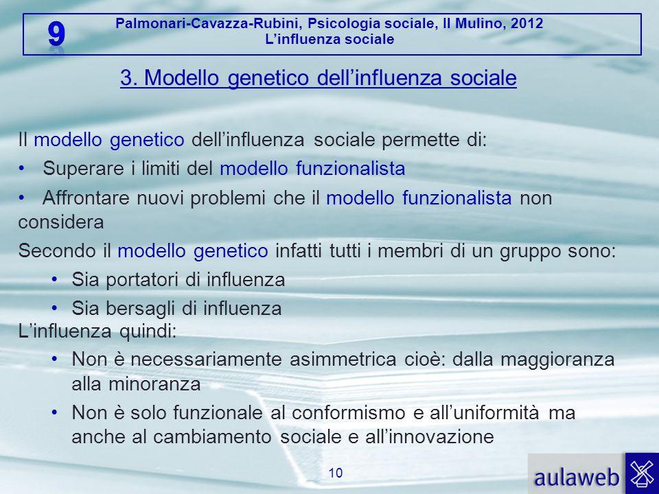 3. Modello genetico dell'influenza sociale