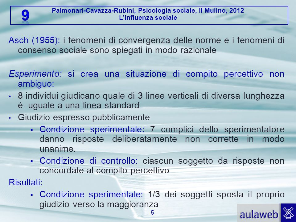 Asch (1955): i fenomeni di convergenza delle norme e i fenomeni di consenso sociale sono spiegati in modo razionale