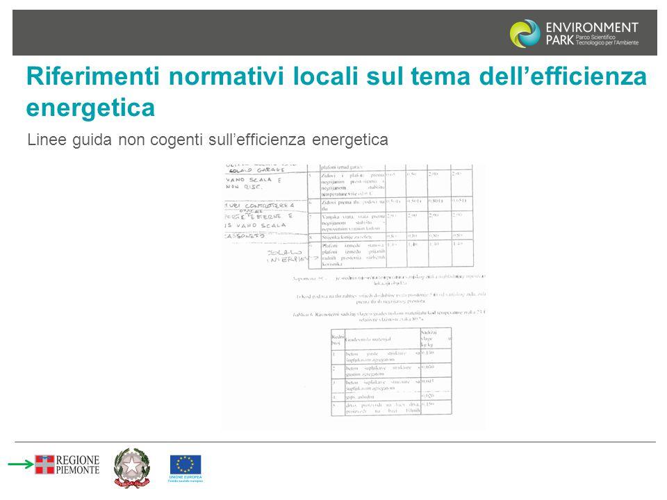 Riferimenti normativi locali sul tema dell'efficienza energetica