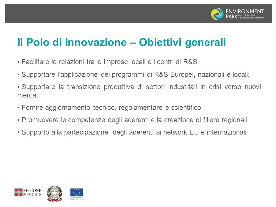 Il Polo di Innovazione – Obiettivi generali