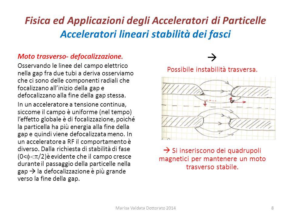 Fisica ed Applicazioni degli Acceleratori di Particelle Acceleratori lineari stabilità dei fasci