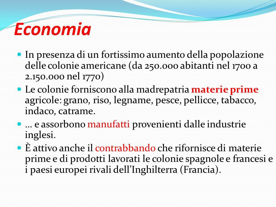 Economia In presenza di un fortissimo aumento della popolazione delle colonie americane (da 250.000 abitanti nel 1700 a 2.150.000 nel 1770)