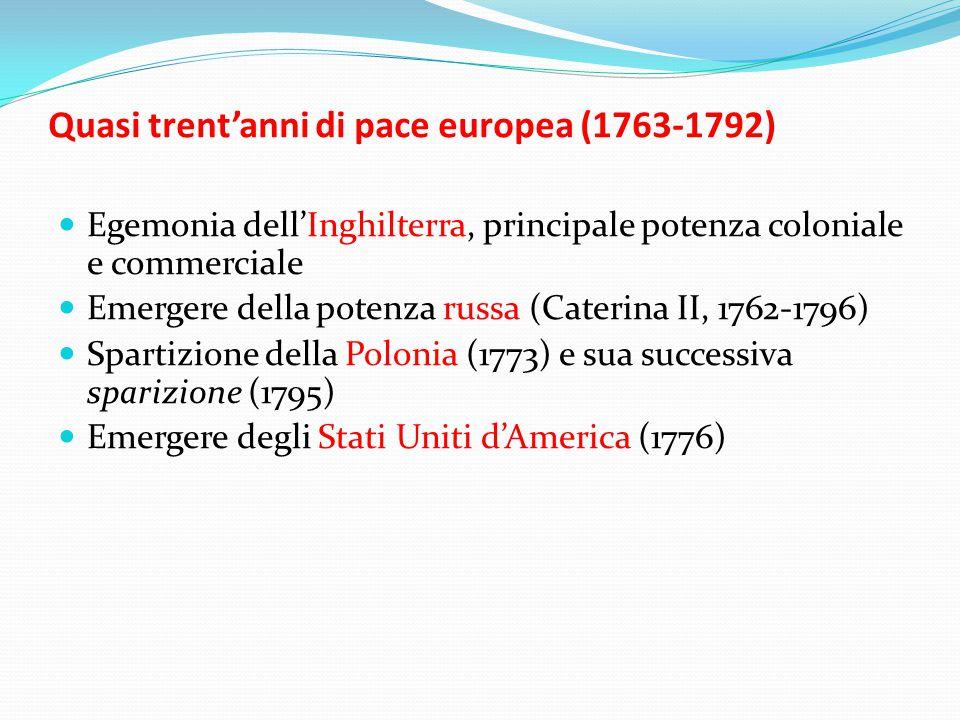 Quasi trent'anni di pace europea (1763-1792)