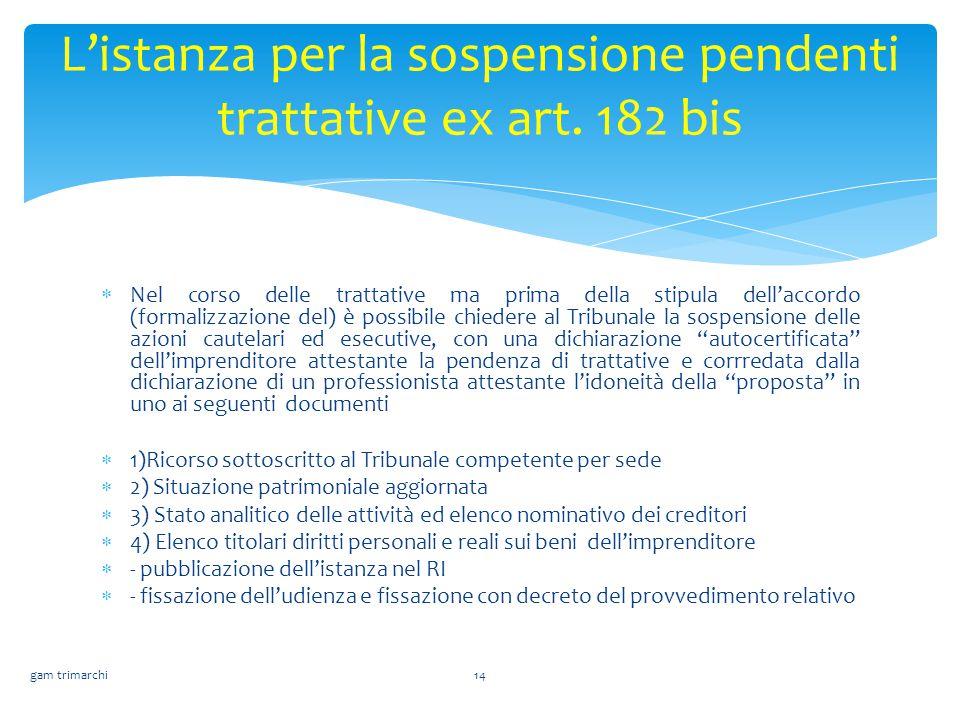L'istanza per la sospensione pendenti trattative ex art. 182 bis