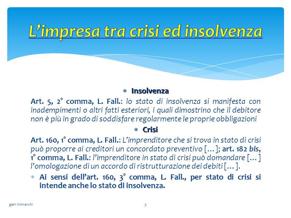 L'impresa tra crisi ed insolvenza