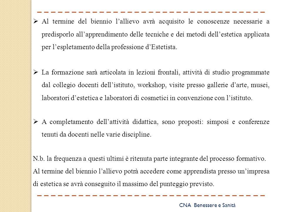 Al termine del biennio l'allievo avrà acquisito le conoscenze necessarie a predisporlo all'apprendimento delle tecniche e dei metodi dell'estetica applicata per l'espletamento della professione d'Estetista.