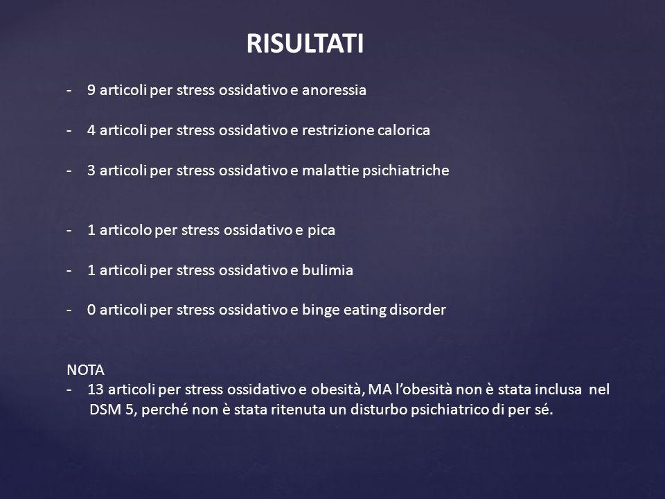 RISULTATI 9 articoli per stress ossidativo e anoressia