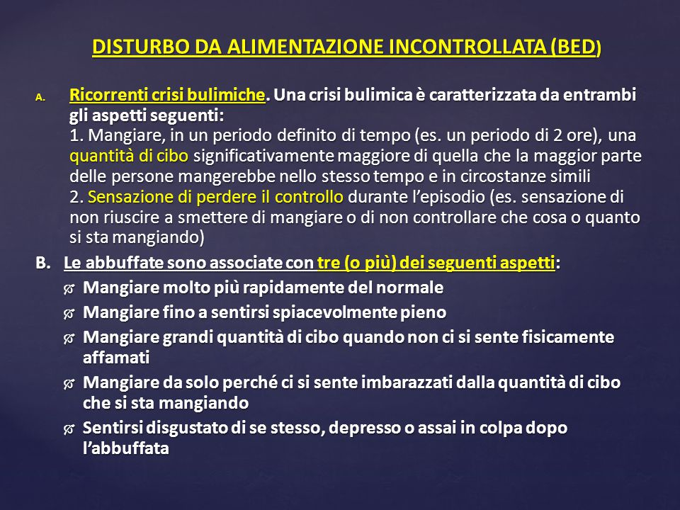 DISTURBO DA ALIMENTAZIONE INCONTROLLATA (BED)