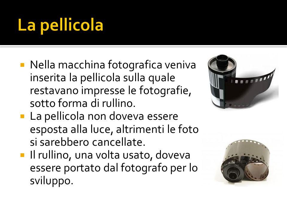 La pellicola Nella macchina fotografica veniva inserita la pellicola sulla quale restavano impresse le fotografie, sotto forma di rullino.
