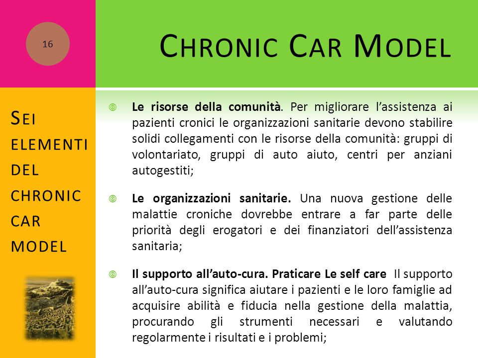 Sei elementi del chronic car model