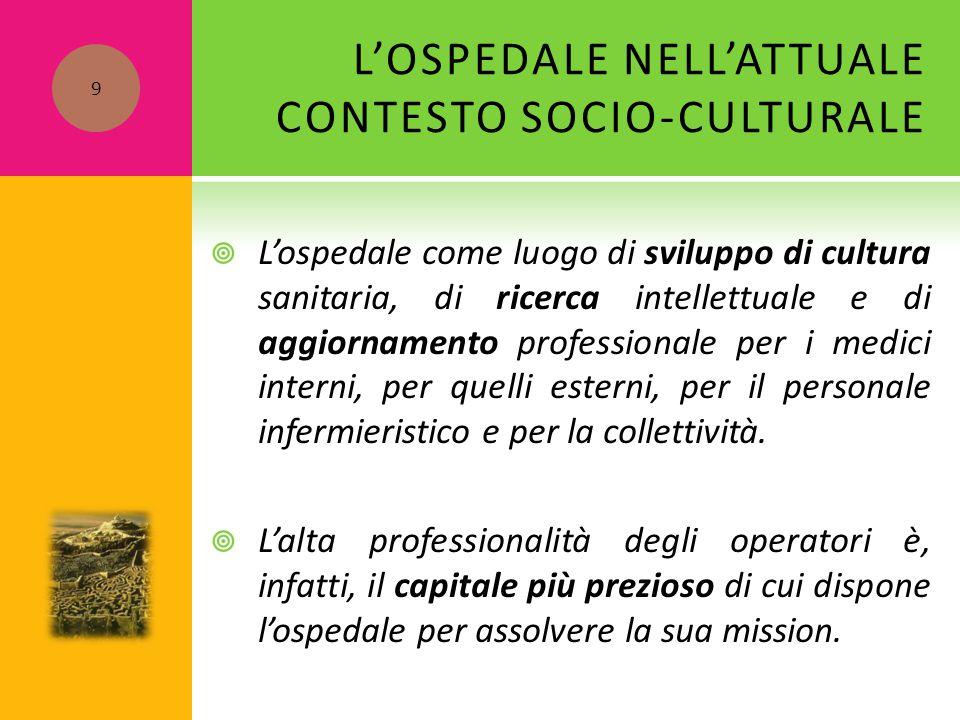 L'OSPEDALE NELL'ATTUALE CONTESTO SOCIO-CULTURALE