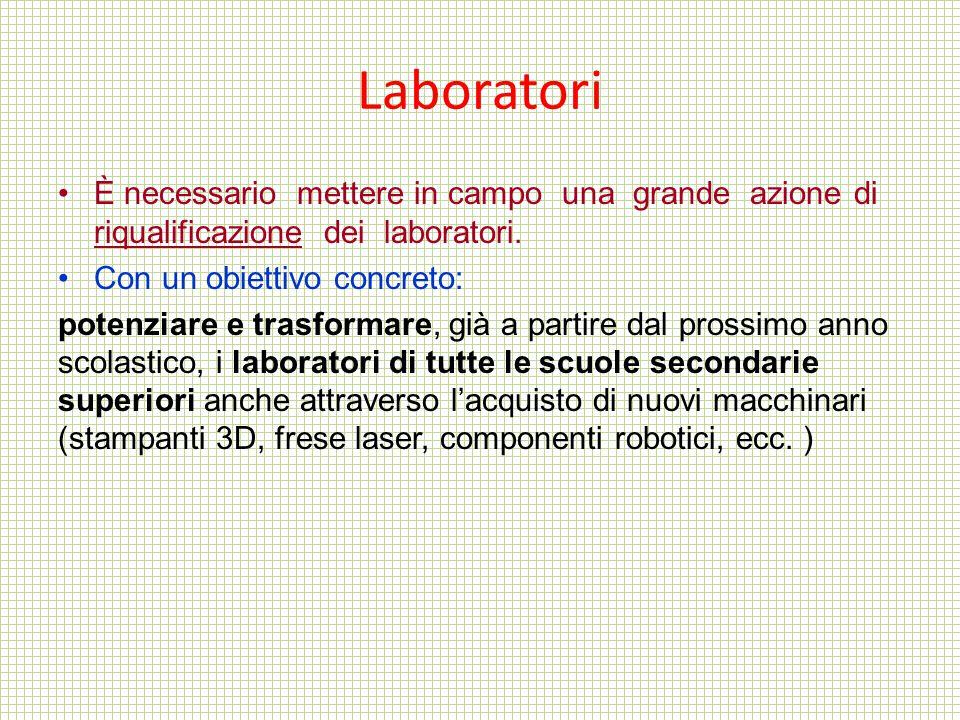 Laboratori È necessario mettere in campo una grande azione di riqualificazione dei laboratori.