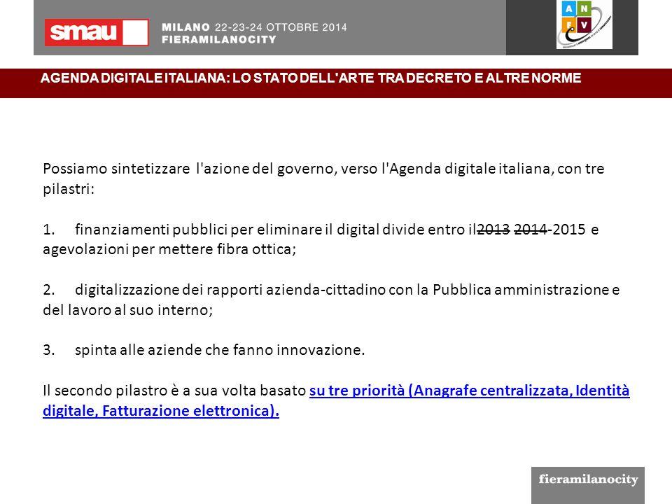 AGENDA DIGITALE ITALIANA: LO STATO DELL ARTE TRA DECRETO E ALTRE NORME
