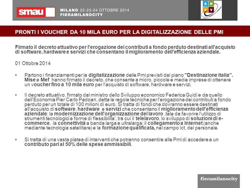 PRONTI I VOUCHER DA 10 MILA EURO PER LA DIGITALIZZAZIONE DELLE PMI