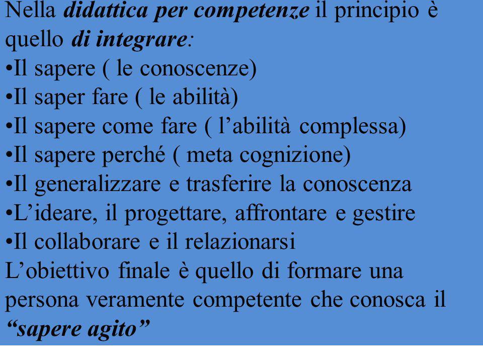 Nella didattica per competenze il principio è quello di integrare: