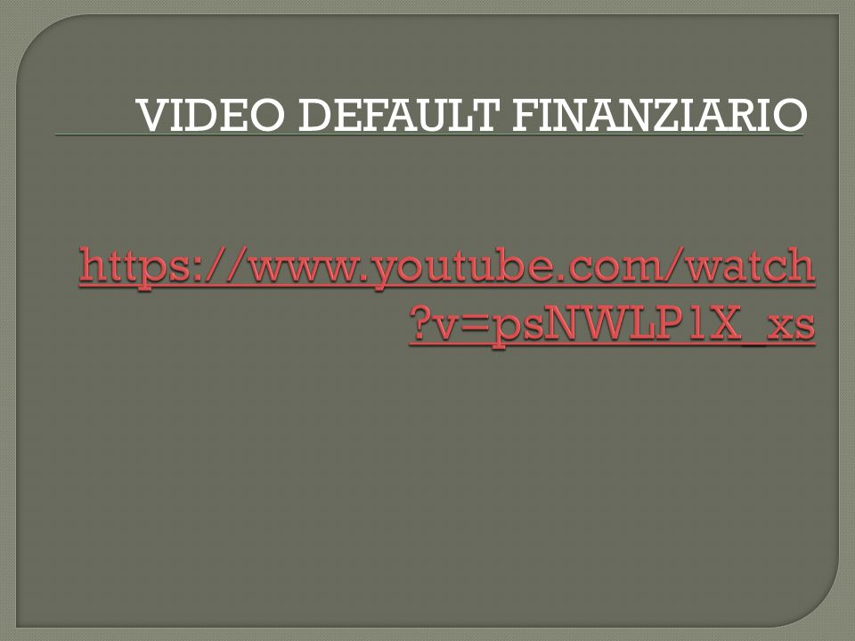 VIDEO DEFAULT FINANZIARIO