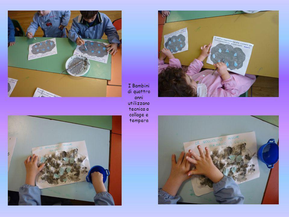 I Bambini di quattro anni utilizzano tecnica a collage e tempera