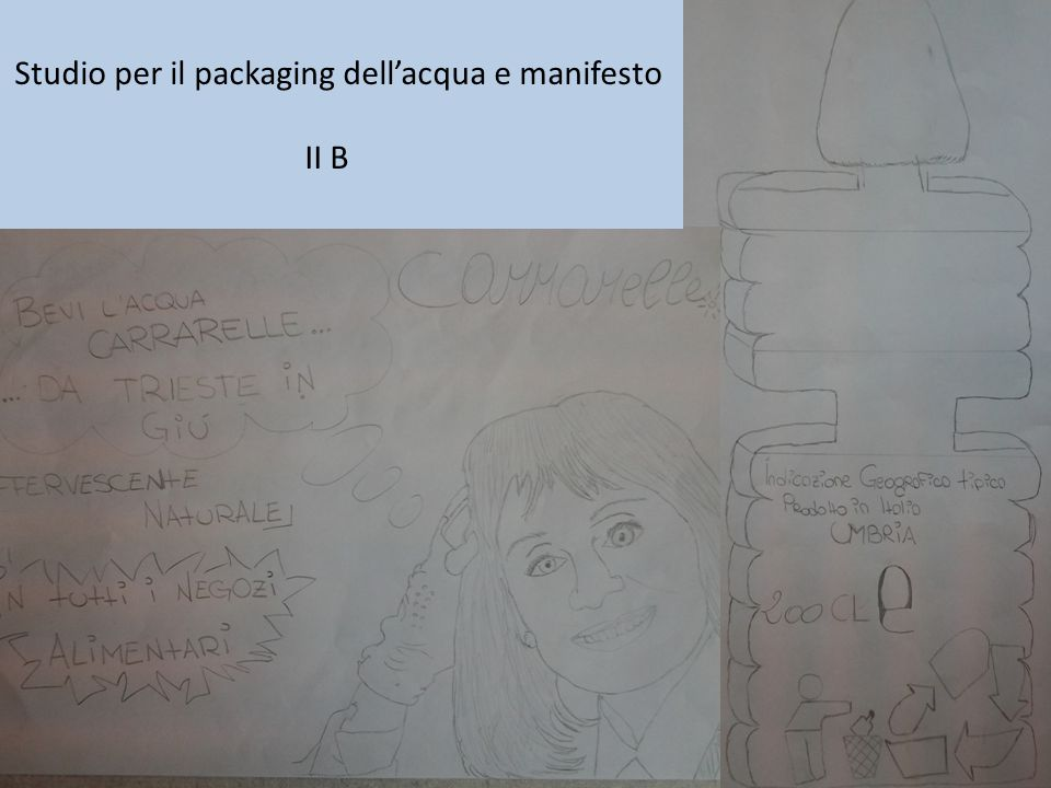 Studio per il packaging dell'acqua e manifesto II B
