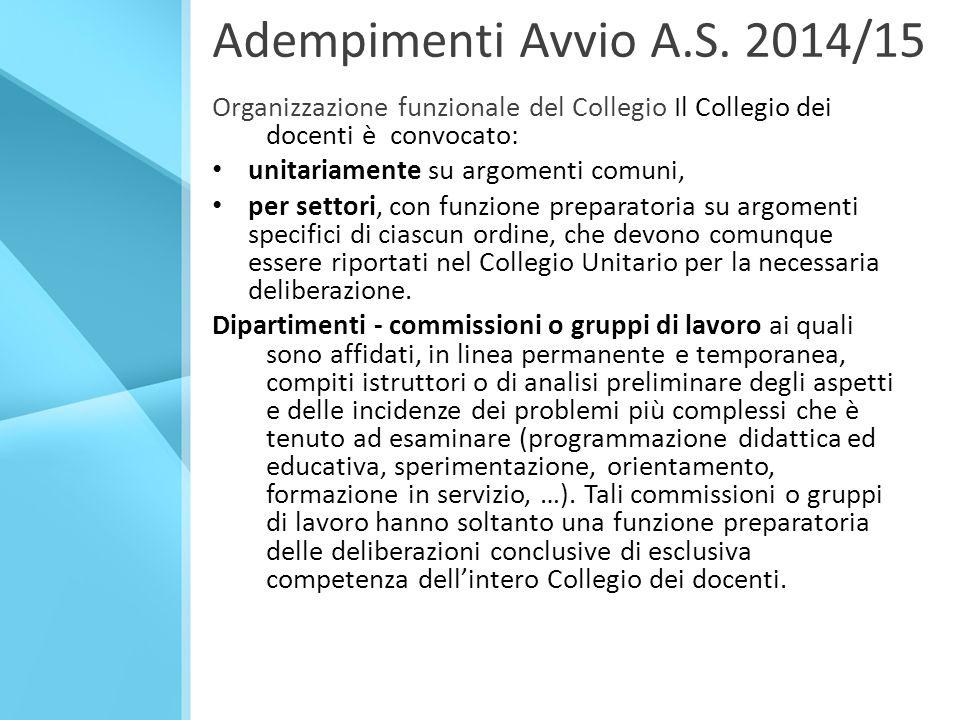 Adempimenti Avvio A.S. 2014/15 Organizzazione funzionale del Collegio Il Collegio dei docenti è convocato: