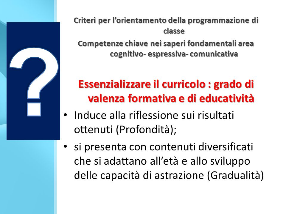Criteri per l'orientamento della programmazione di classe