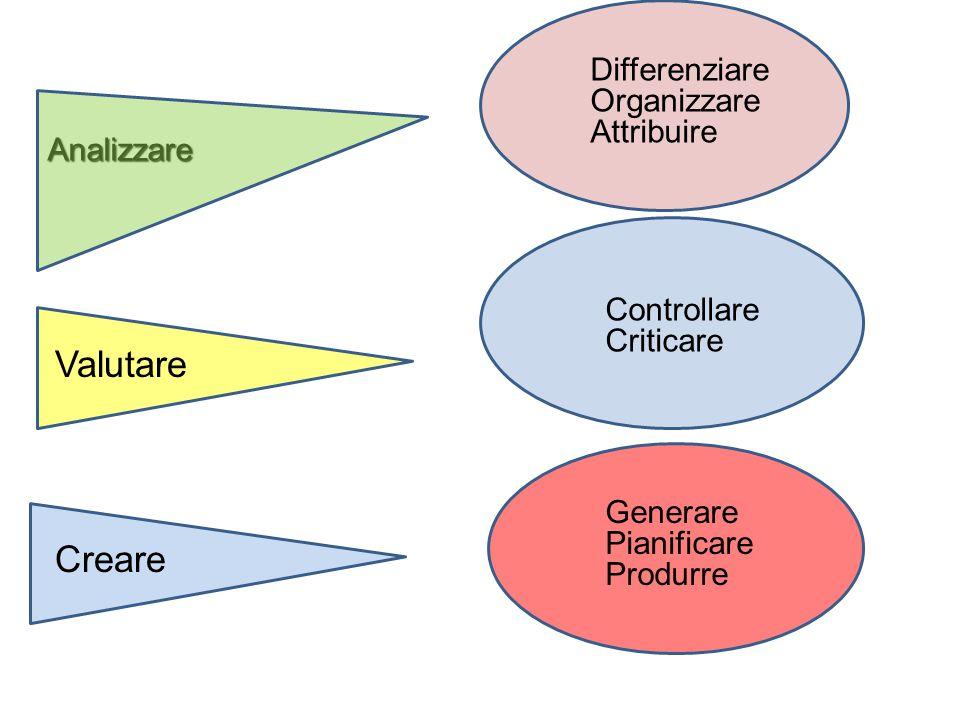 Valutare Creare Differenziare Organizzare Attribuire Analizzare