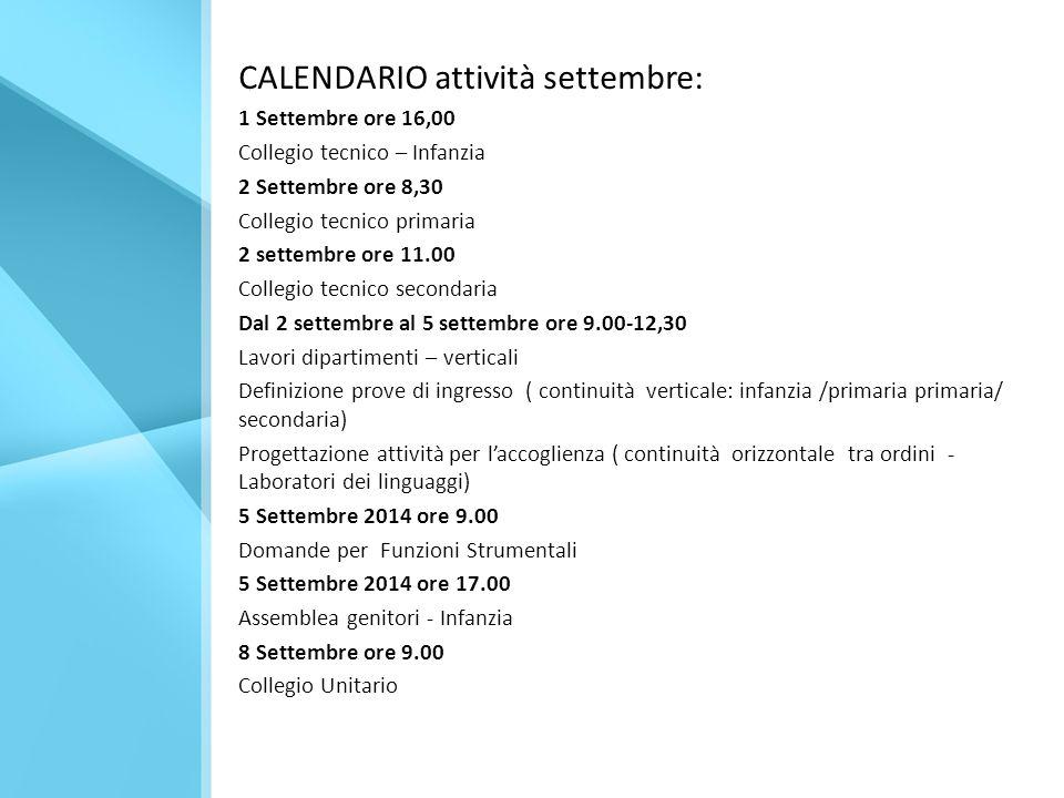CALENDARIO attività settembre: