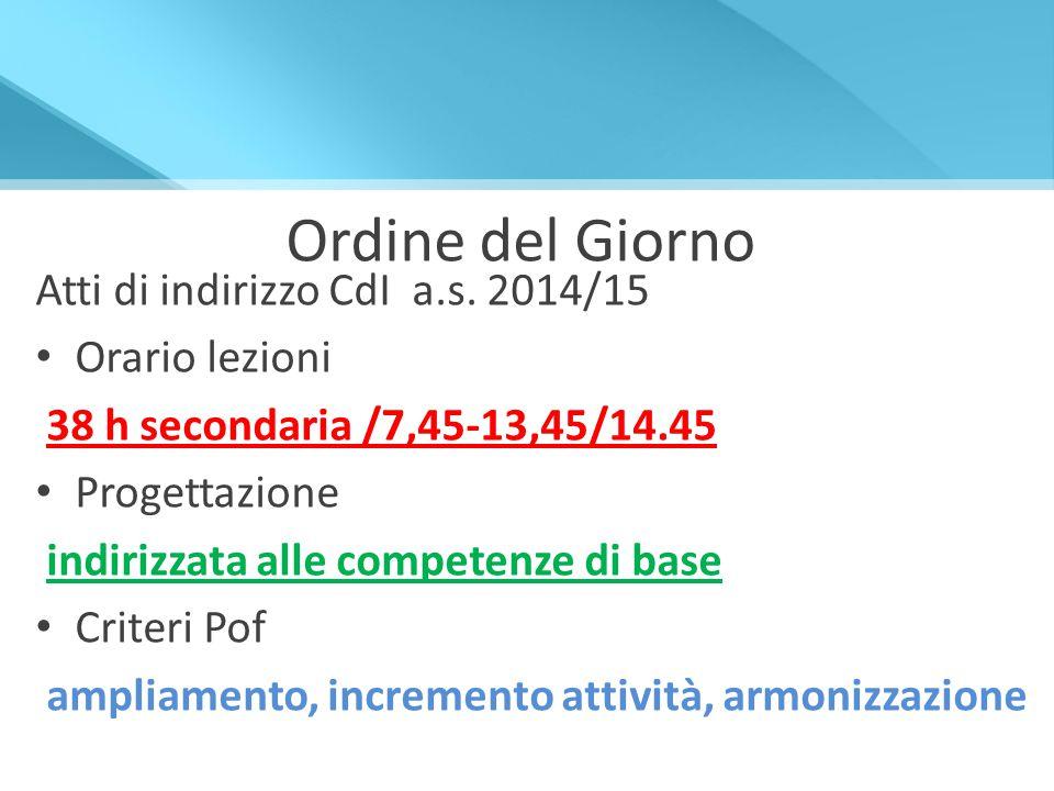 Ordine del Giorno Atti di indirizzo CdI a.s. 2014/15 Orario lezioni