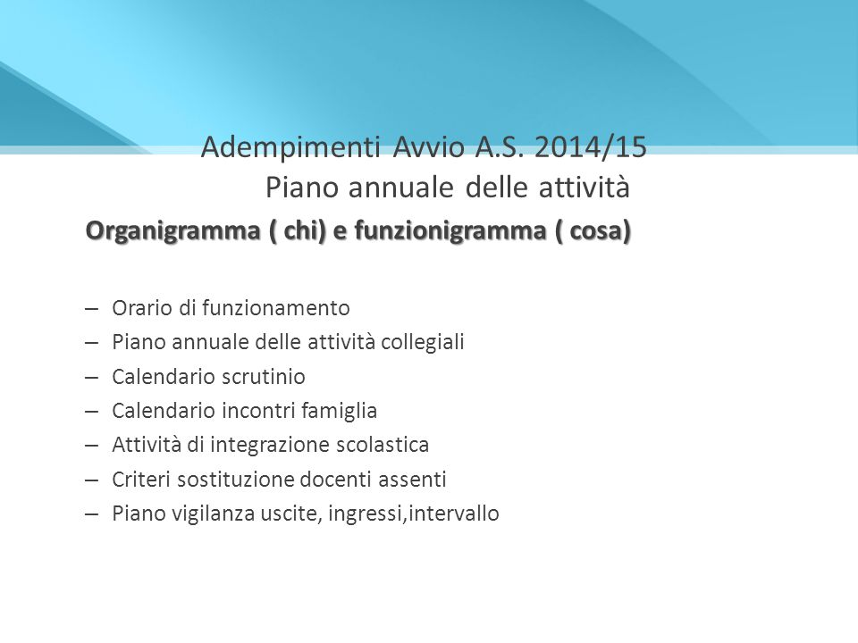 Adempimenti Avvio A.S. 2014/15 Piano annuale delle attività