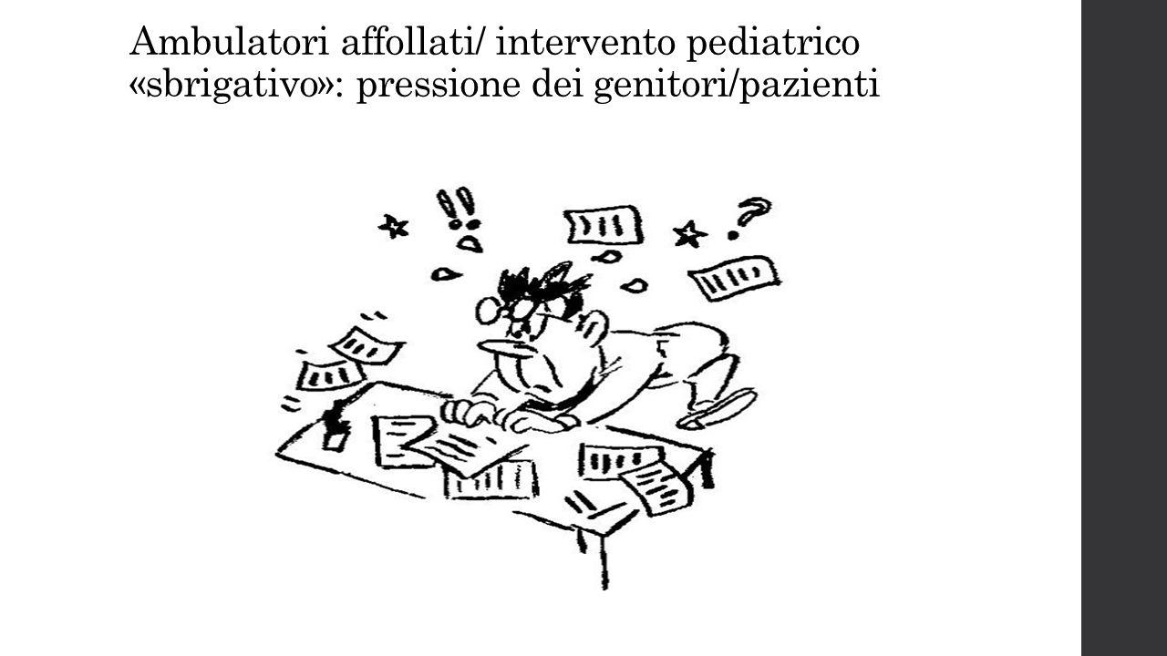 Ambulatori affollati/ intervento pediatrico «sbrigativo»: pressione dei genitori/pazienti