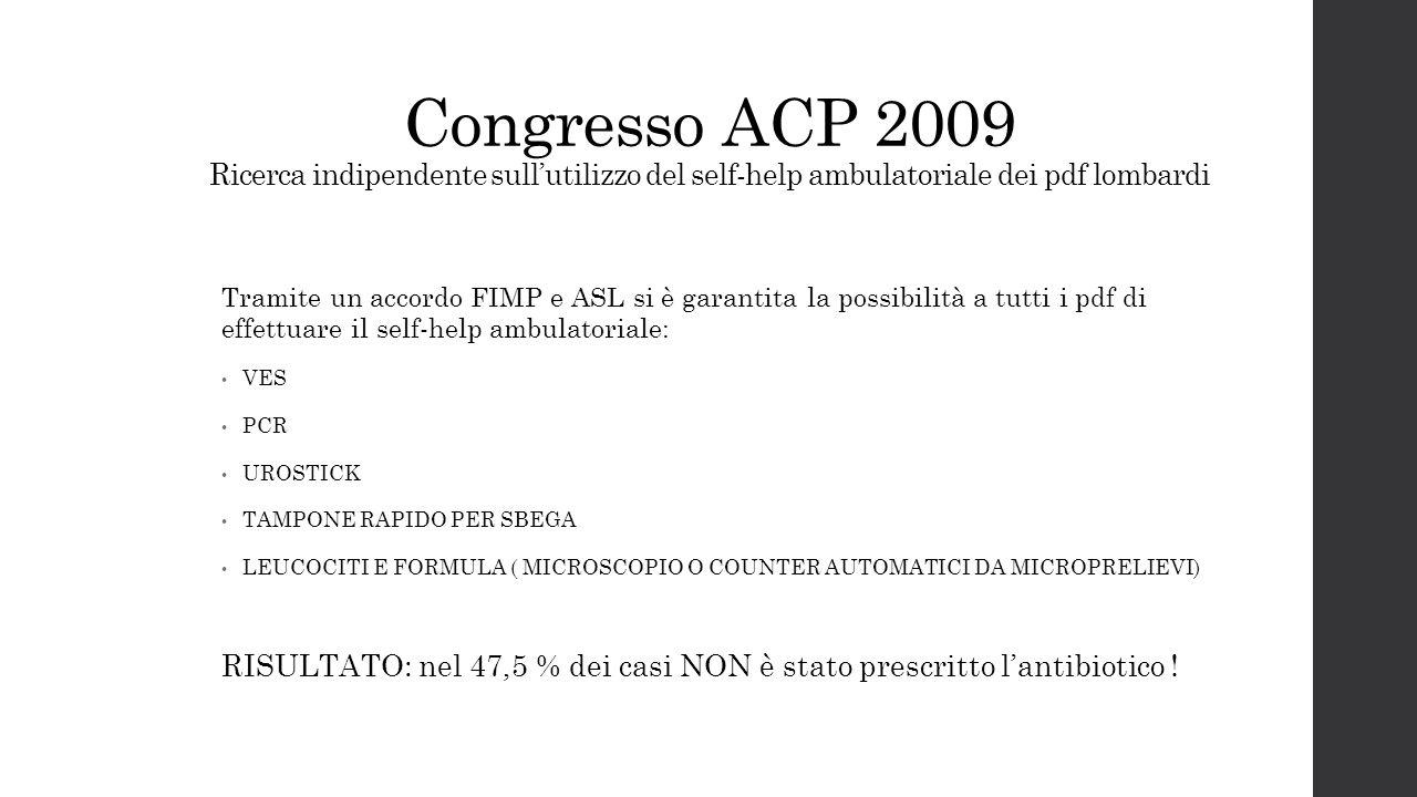 Congresso ACP 2009 Ricerca indipendente sull'utilizzo del self-help ambulatoriale dei pdf lombardi