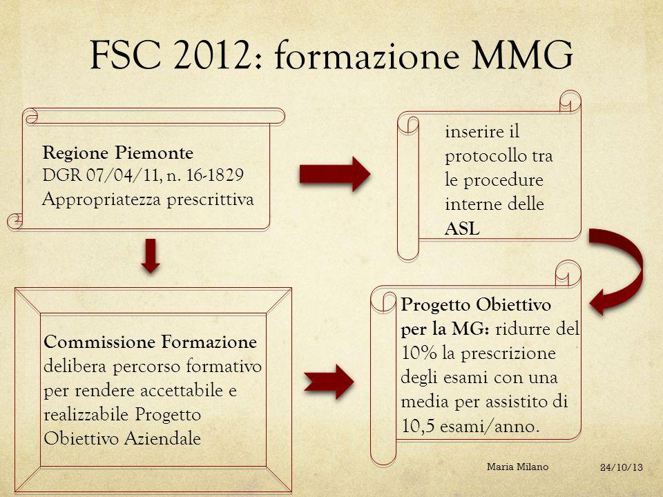 FSC 2012: formazione MMG inserire il protocollo tra le procedure interne delle ASL. Regione Piemonte.