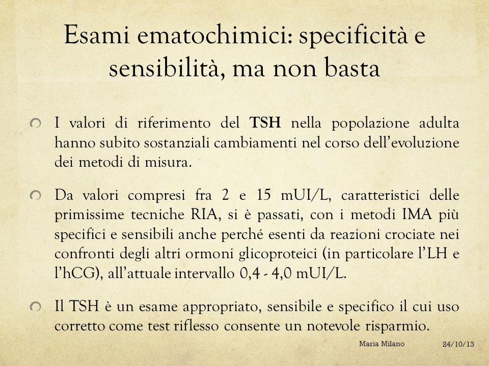 Esami ematochimici: specificità e sensibilità, ma non basta