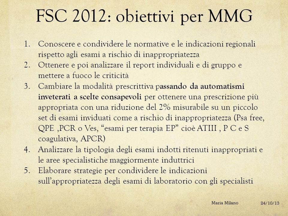 FSC 2012: obiettivi per MMG Conoscere e condividere le normative e le indicazioni regionali rispetto agli esami a rischio di inappropriatezza.
