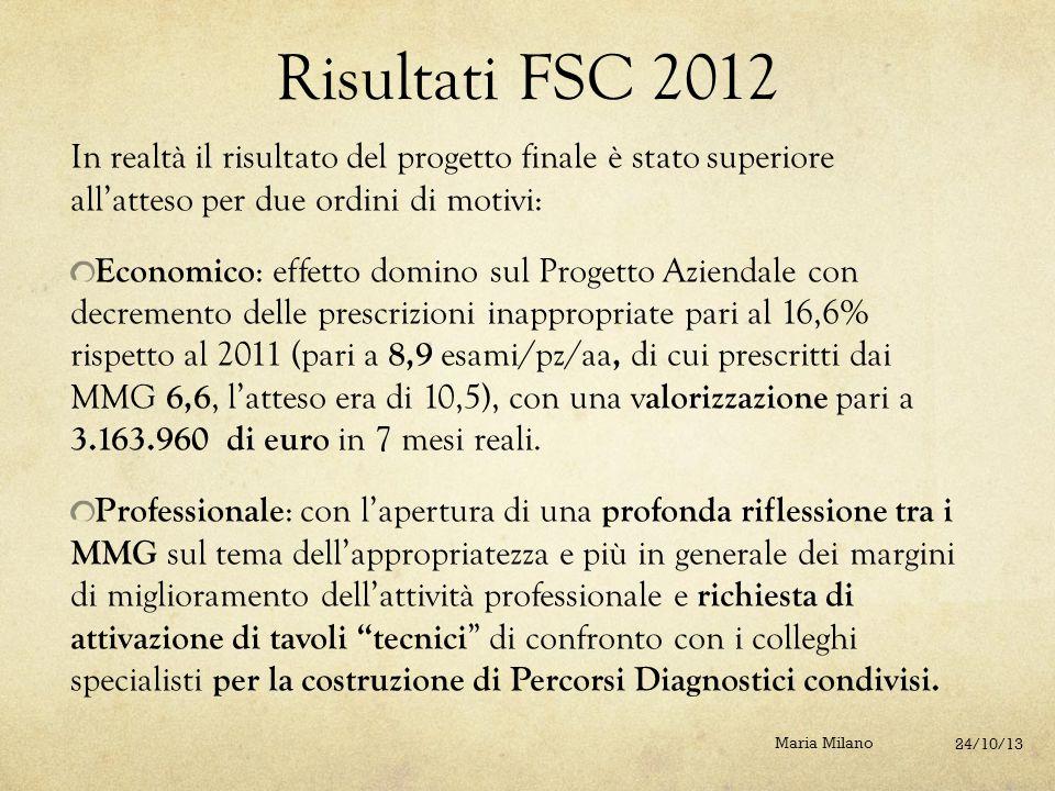 Risultati FSC 2012 In realtà il risultato del progetto finale è stato superiore all'atteso per due ordini di motivi: