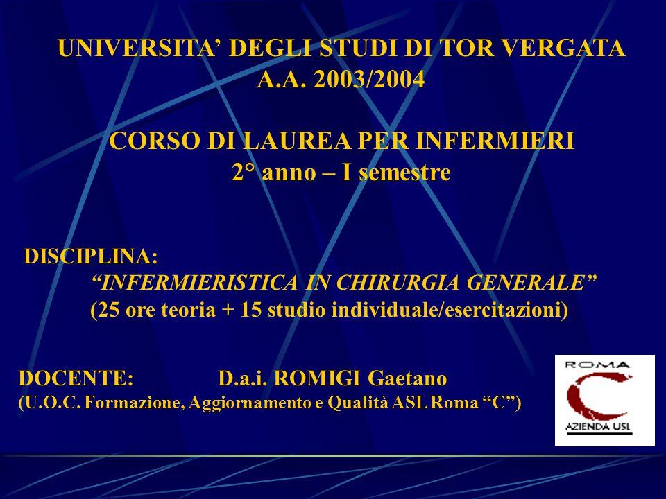UNIVERSITA' DEGLI STUDI DI TOR VERGATA CORSO DI LAUREA PER INFERMIERI