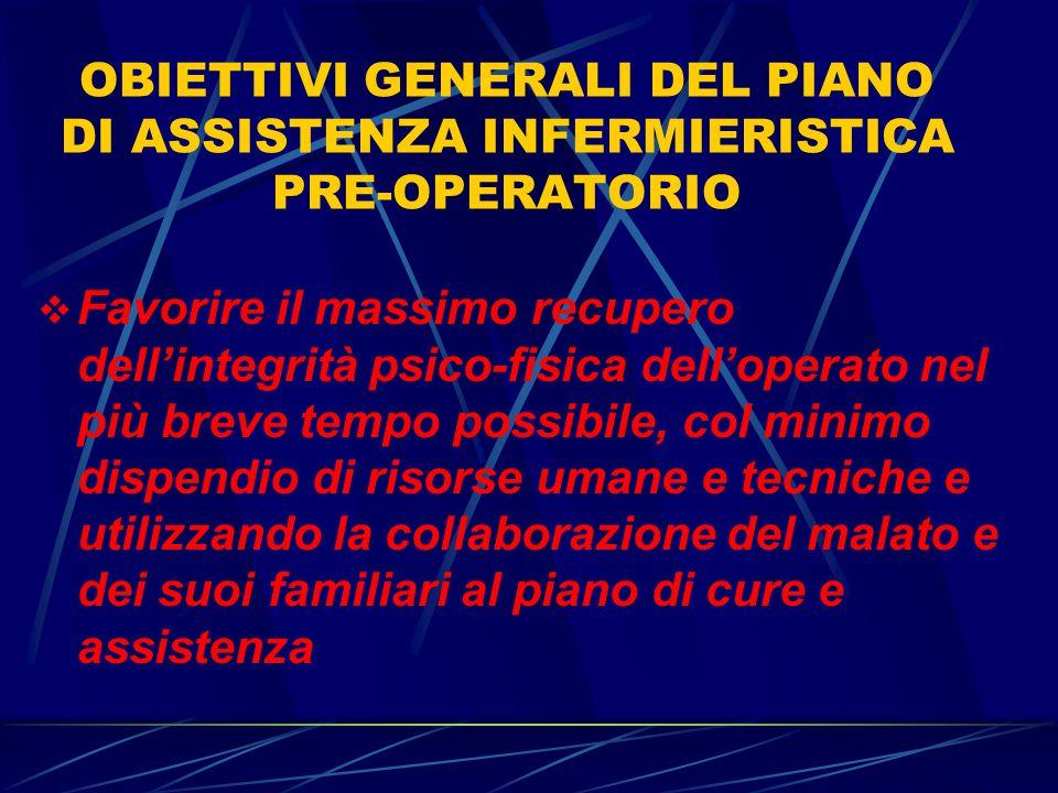 OBIETTIVI GENERALI DEL PIANO DI ASSISTENZA INFERMIERISTICA PRE-OPERATORIO