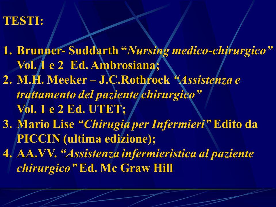 TESTI: Brunner- Suddarth Nursing medico-chirurgico Vol. 1 e 2 Ed. Ambrosiana; M.H. Meeker – J.C.Rothrock Assistenza e.