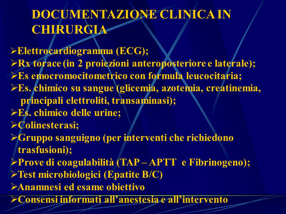 DOCUMENTAZIONE CLINICA IN CHIRURGIA