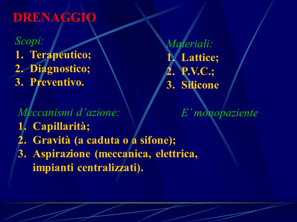 DRENAGGIO Scopi: Materiali: Terapeutico; Lattice; Diagnostico; P.V.C.;