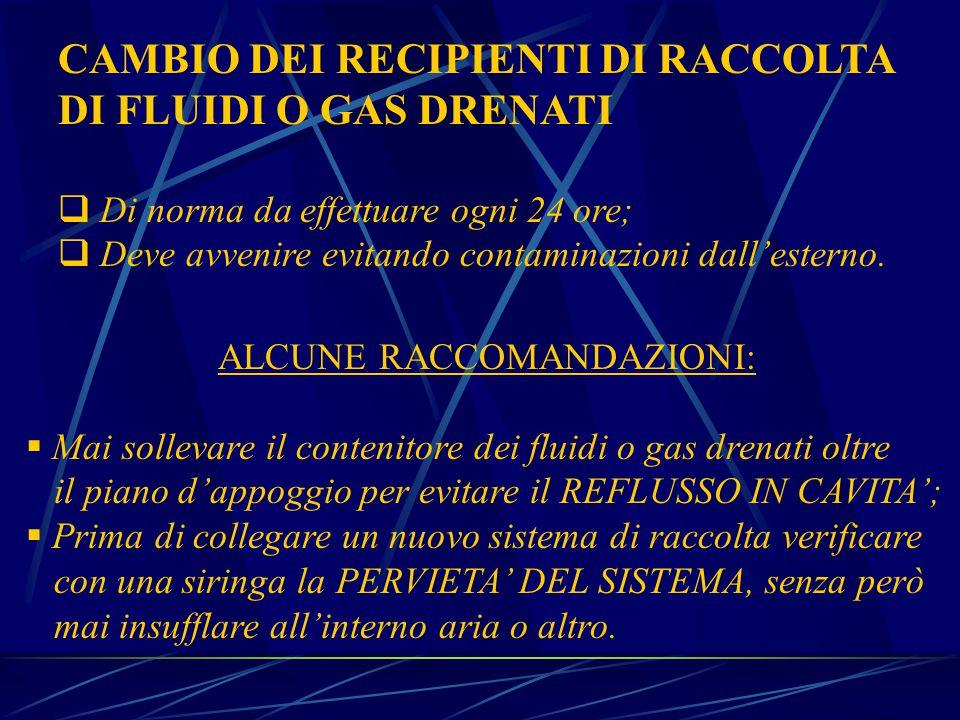 CAMBIO DEI RECIPIENTI DI RACCOLTA DI FLUIDI O GAS DRENATI