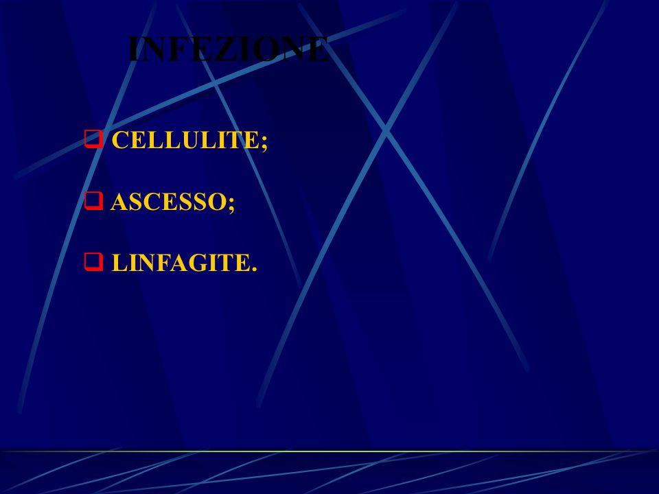INFEZIONE CELLULITE; ASCESSO; LINFAGITE.