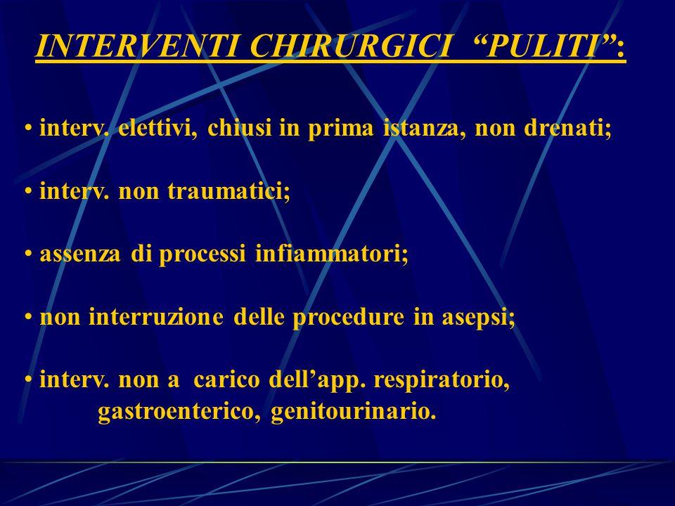 INTERVENTI CHIRURGICI PULITI :