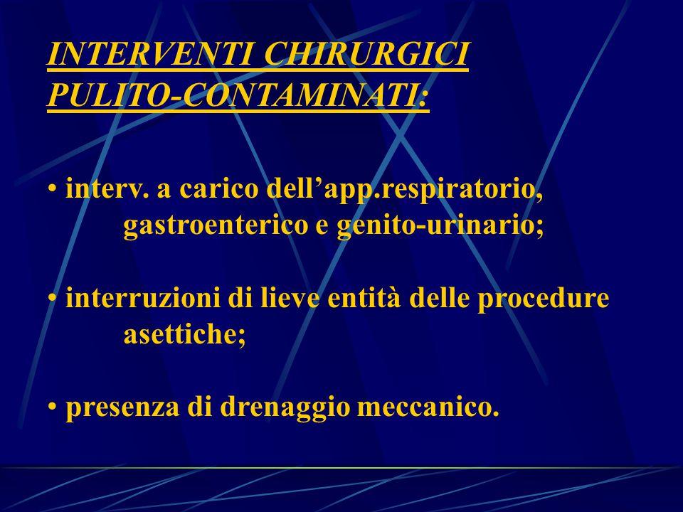 INTERVENTI CHIRURGICI PULITO-CONTAMINATI: