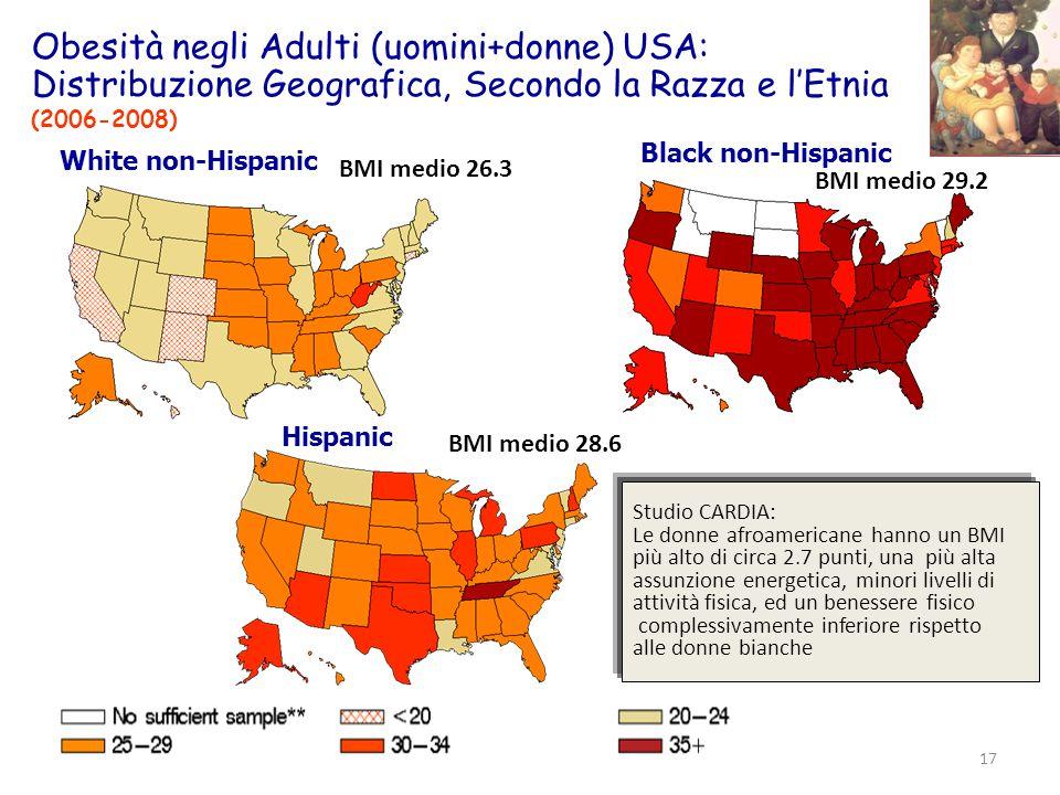 Obesità negli Adulti (uomini+donne) USA: