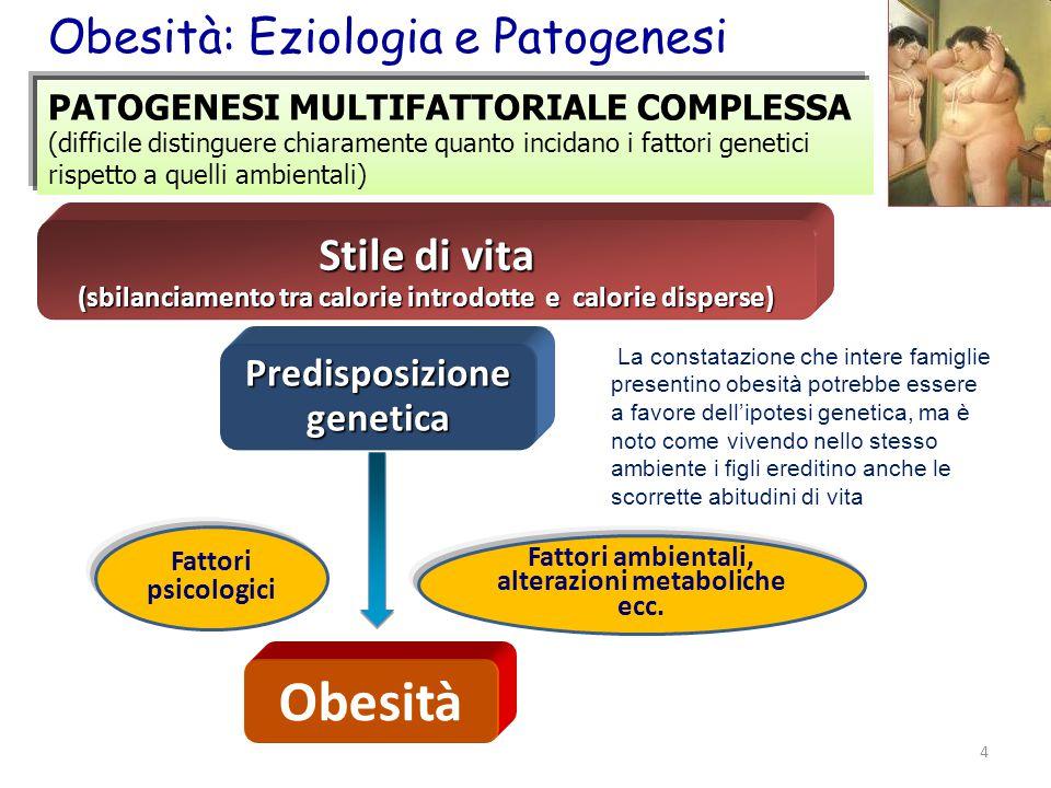 Obesità Obesità: Eziologia e Patogenesi Stile di vita