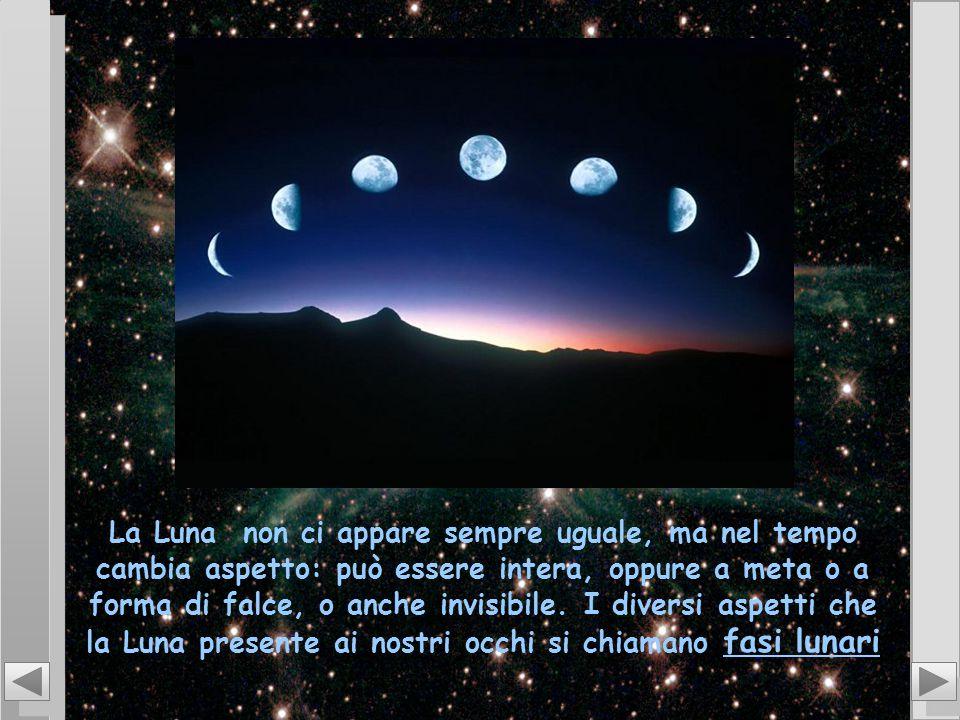 La Luna non ci appare sempre uguale, ma nel tempo cambia aspetto: può essere intera, oppure a meta o a forma di falce, o anche invisibile.