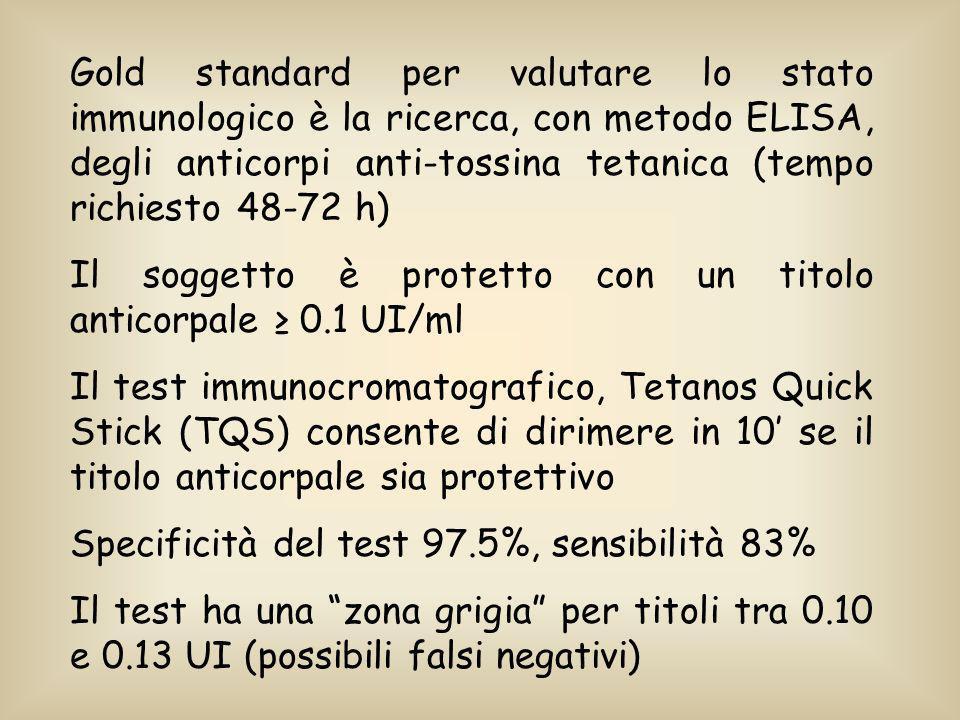 Gold standard per valutare lo stato immunologico è la ricerca, con metodo ELISA, degli anticorpi anti-tossina tetanica (tempo richiesto 48-72 h)