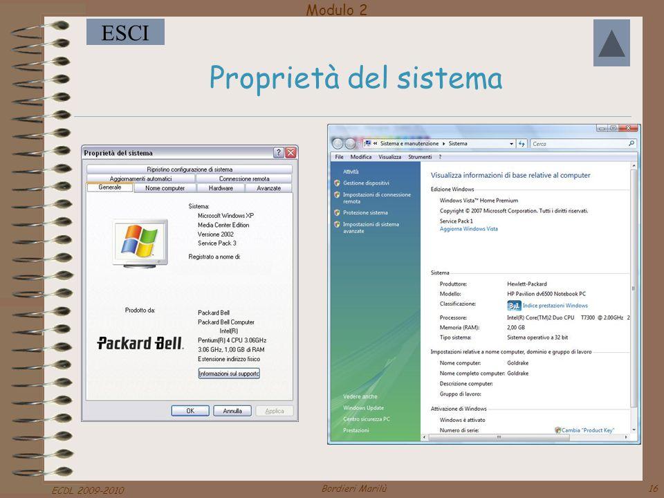 Proprietà del sistema ECDL 2009-2010 Bordieri Marilù