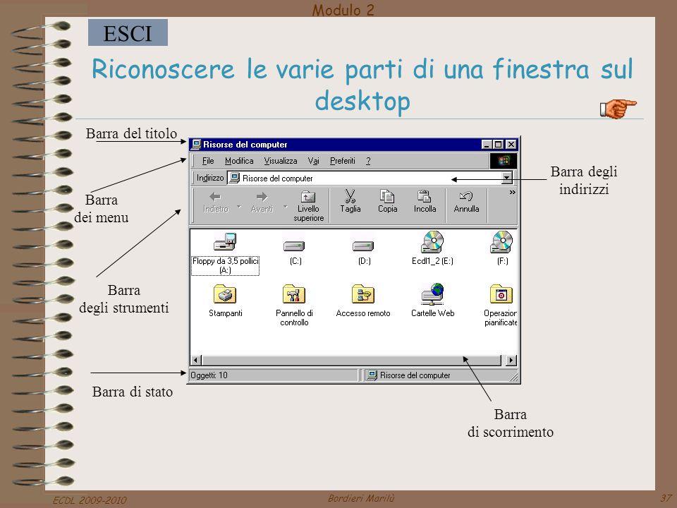 Riconoscere le varie parti di una finestra sul desktop