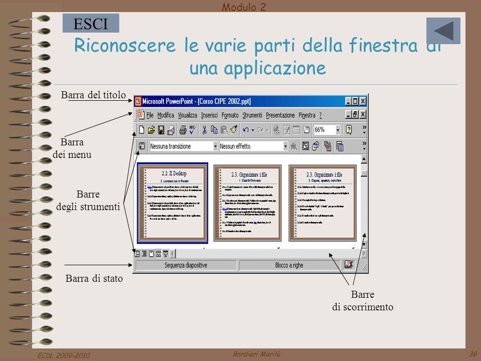 Riconoscere le varie parti della finestra di una applicazione